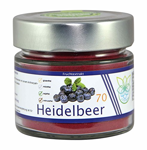VITARAGNA Heidelbeer Fruchtextrakt 70 vegan, pur, Qualitätsprodukt mit Heidelbeer-Extrakt, Heidelbeer-Pulver auch Blaubeer-Fruchtpulver, ohne Zusätze