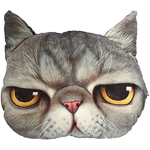 Meow Star a forma di testa di gatto, Cuscino da divano Cuscino Angry come regalo di Natale, colore: grigio