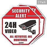 Letrero de Seguridad de Video, Paquete de 2 Alerta de Seguridad CCTV, Octš¢gono, 12'x12, Aluminio de 40Mil de Grosor Grueso, vigilancia Las 24 Horas No Hay se?ales de Advertencia de Metal de Paso