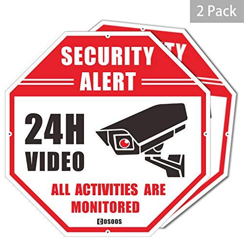 """Letrero de Seguridad de Video, Paquete de 2 Alerta de Seguridad CCTV, Oct¨¢gono, 12""""x12, Aluminio de 40Mil de Grosor Grueso, vigilancia Las 24 Horas No Hay Se?ales de Advertencia de Metal de Paso"""