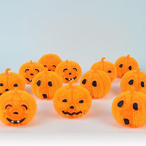 LED Halloween Licht niedlich und lustig Ausdruck Kürbis Spiky Ball Design weichen Squishy Kunststoff Licht, verkauft in 16pcs zufällige Ausdrücke (Halloween Maske Ausdrucken)