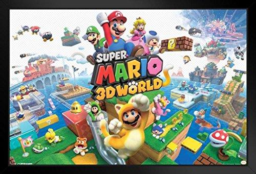 Super Mario 3D World Nintendo Plattform Game Series WII U Verpackung Artwork Print gerahmtes Poster 45,7x 30,5cm (Rosalina Mario Prinzessin Super)