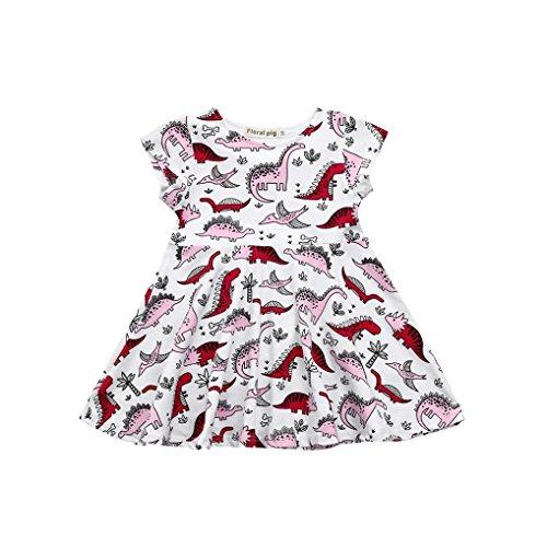 Elecenty Mädchen Baby Prinzessin Kleid,Tutu Kleid Kinder Dinosaurier Drucken Sommerkleid...