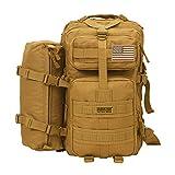 Seibertron Falcon Taktischer Militärischer Rucksack Kompakt Angriff für Wandern Reisen Trekking Tasche Tactical Bag Assault Backpack Military Camping Pack Outdoor Daypacks (Khaki 37L(1+1))