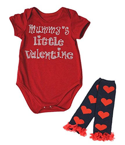 Mumie Kostüme Baby (Mummy's Little Valentine Red Cotton Jumpsuit Baby Romper Leg Warmer Set Nb-18m (6-12)