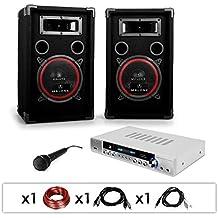 """Equipo PA """"DJ 11"""" Amplificador micrófono 2 altavoces 1000W"""