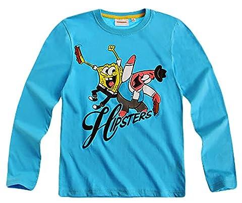 erdbeerloft- KIDS Sponge Bob - Jungen- Langarm-Shirt, Alter 12 Jahre, Größe 152, türkis