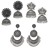 Best Ring 3 - Om Jewells Silver Oxidized Alloy Jhumkis Earrings Review