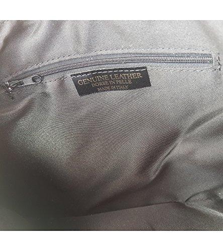 Elegante Große Damen Clutch Echtleder Tasche Abendtasche Metallic 32x23cm Rot Metallic