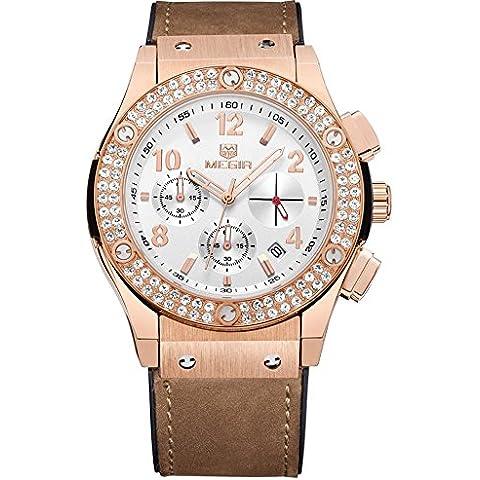vear Orologio vear cristallo Cronografo Automatico Data Sport Quarzo amanti orologio da uomo, Uomo, rose gold, Taglia unica