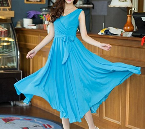 EMIN Damen Sommer Kleid Chiffon Abendleid Strandkleid Party Kleid Elegant Blau