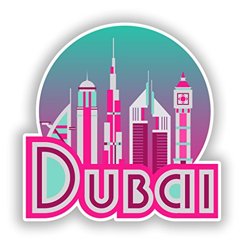 2x 10cm/100mm Dubai Vinyl Aufkleber Reise Gepäck # 10696
