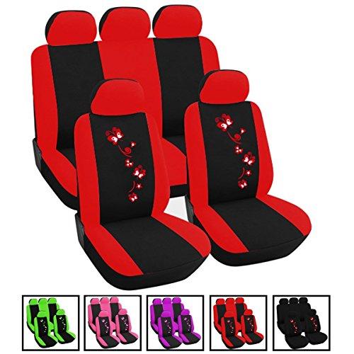Auto Sitzbezug Sitzbezüge Schonbezug Schonbezüge verschiedene Modelle Farbwahl Sitzschoner für Damen Schwarz/Rot AS7250-a