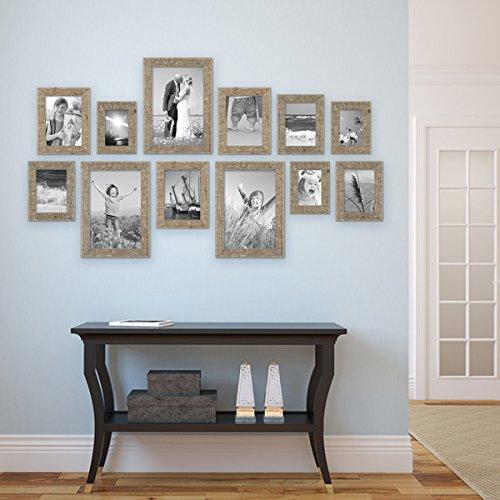 Preisvergleich Produktbild 12er Bilderrahmen-Set Strandhaus Rustikal Eiche-Optik Natur Massivholz 10x15 bis 20x30 cm inklusive Zubehör / Fotorahmen