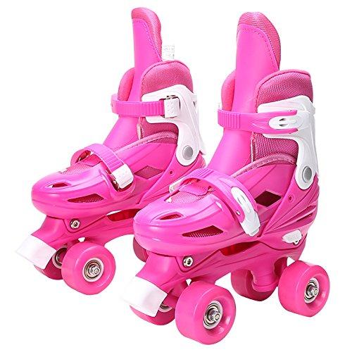 SKATES Rollschuhe Einstellbar Kinder Training Schlittschuhe Atmungsaktiv Abnehmbar Waschbar Rollerblades Kinder Jungen Mädchen Schlittschuh Set (Farbe : Pink,...