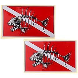 perfeclan Set 2 Grandes Bouteilles De Plongée sous-Marine Imperméables Palmes Autocollants Stickers Autocollants Accessoires - Squelette de Poisson, comme Décrit