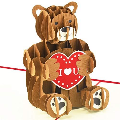 Muttertagskarte Bärchen mit Herz, I love you Teddy-Bär, XXL 3D-Pop-Up-Karte, Verlobung-Karte, Hochzeit, Liebe, Geburtstagskarte, Geschenkkarte mit Umschlag, Hochzeitskarte