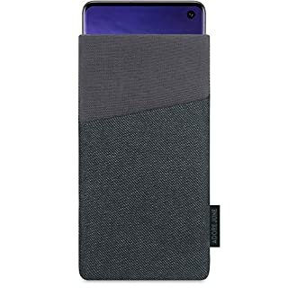 Adore June Clive Pouch for Samsung Galaxy S10, Case With Extra Pocket And Display Cleaning Effect, Black/Grey
