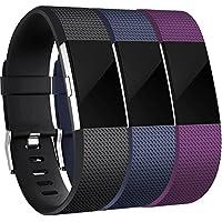 HUMENN Correa para Fitbit Charge 2, Edición Especial Deportes Recambio de Pulseras Ajustable Accesorios para Fitbit Charge 2 Pequeño #3 Nero+Azul+Ciruela