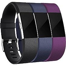 Fitbit Charge 2 Correa, HUMENN Edición Especial Deportes Recambio de Pulseras Ajustable Accesorios para Fitbit Charge 2 Pequeño #3 Nero+Azul+Ciruela