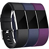 HUMENN Ersatz Fitbit Charge 2 Armband, Weich Verstellbares Armband mit Klassisch Schnalle für Fitbit Charge 2 Large 3 Farbe-3