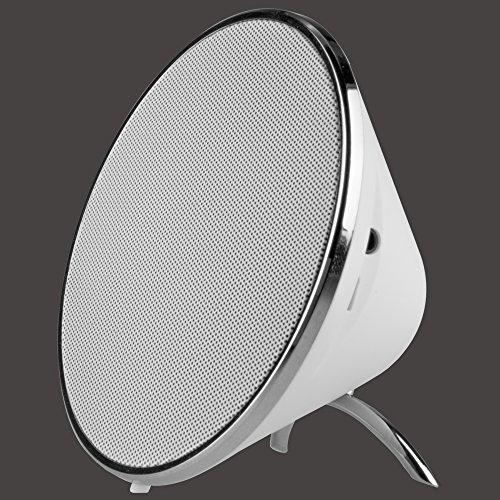 STYLETEC Single Designer Lautsprecher / Stereo Speaker / Bluetooth Lautsprecher mit verchromter Umrandung und softmattem Gehäuse - weiß