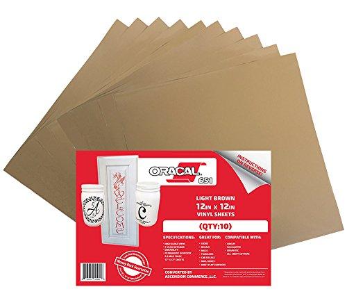 Outdoor-finish (Oracal 651hellbraun selbstklebend Craft Vinyl für Cricut, Silhouette, Cameo, Craft, Drucker, und Decals-30,5x 30,5cm-Hochglanz-Finish-Outdoor und Permanent (10) Sheets)