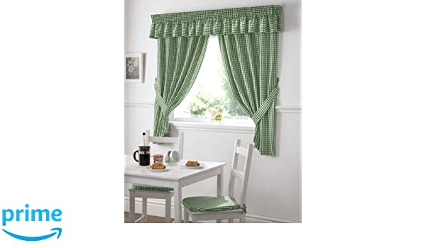 APPLES AND PEARS GREEN RED GINGHAM KITCHEN CURTAINS W46 X L48 INC TIE BACKS  PCJ SUPPLIES