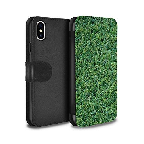 Stuff4 Coque/Etui/Housse Cuir PU Case/Cover pour Apple iPhone X/10 / Ondulé Design / Plantes/Feuilles Collection Herbe/Gazon