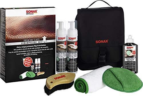 SONAX 281941 PremiumClass Leder-Pflege-Set, inkl. 2x Lederreiniger, 1x Lederpflegecreme, 1x Microfasertuch, 1x Pflegepad, 1x Reinigungsbürste