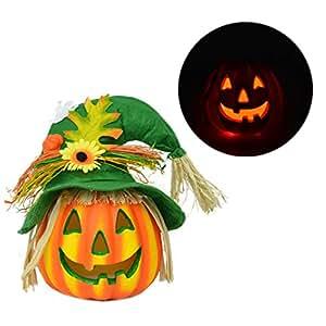 Lanterna di Zucca di Halloween Carino di Colore Incandescente Spaventapasseri Variabile Luce di Notte HuaForCity Bar Party Decorazioni di Halloween Attività Props Regali Classici di Halloween (senza batteria) 26x32cm