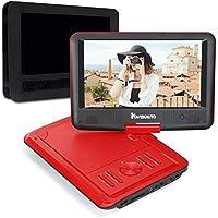 "9"" Tragbarer DVD Player 5 Stunden Akku NAVISKAUTO Auto Kopfstütze Monitor Kopfstützenhalterung SD/USB AV IN/OUT Mädchen Rot (09001R)"