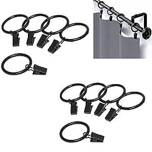 Qiorange 10 STK. 35mm Durchmesser Mehrzweck Vorhang Clip Gardinenstange Gardinenringe Vorhangringe mit Clips Schwarz (10 Pcs Schwarz Typ A)