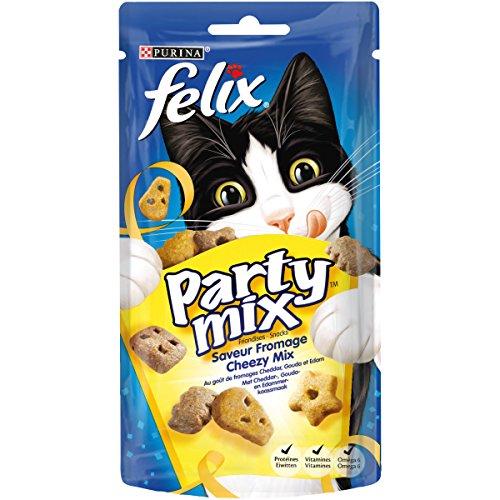 Felix Party Mix Saveur Fromage : Cheddar, Gouda, Edam - 60 g - Friandises pour Chat - Lot de 8
