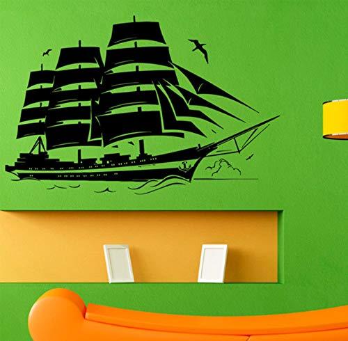 wuyyii 65X42 CM Mode Piratenschiff Wandtattoo Segelboot Vinyl Aufkleber Nautische Grafik Wandbild Vinyl Home Kunst Dekoration Benutzerdefinierte Größe ()