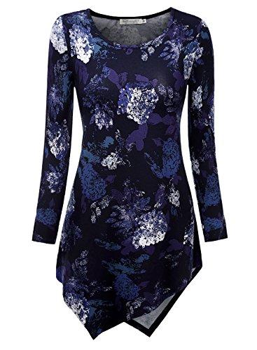 Herz Tie-dye-t-shirt (BAISHENGGT Damen Tie-Dye Langarmshirt Asymmetrisch Hem Tunika Stretch Longshirts Blaulila-Blumen L)