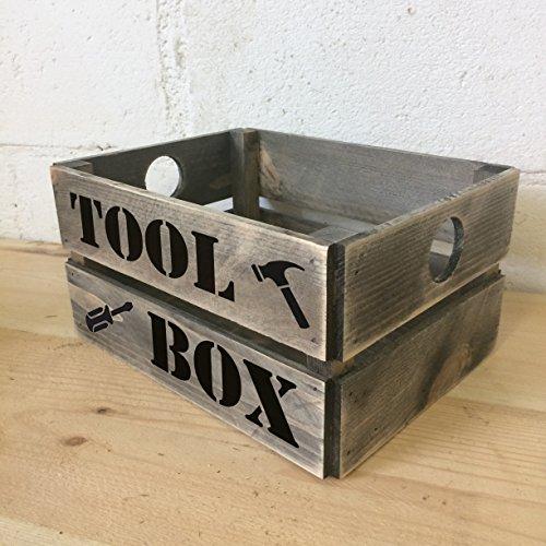"""Holz-Werkzeugkiste in Retro-Optik mit Aufschrift """"Tool Box"""", Aufbewahrungskiste"""