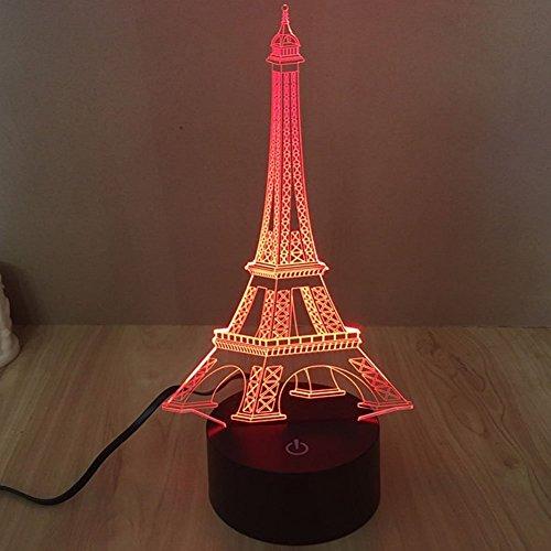 Lampe 3D ILLUSION Lichter der Nacht, kingcoo 7Farben LED Acryl Licht 3D Creative Berührungsschalter Stereo Visual Atmosphäre Schreibtischlampe Tisch-, Geschenk für Weihnachten, Kunststoff, tour Eiffel 0.50 wattsW - 3