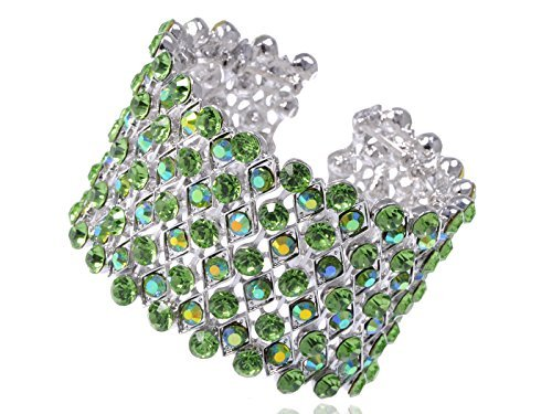 Alilang Silber Farbton Iridescent Peridot Grün farbige Strass Stulpe Verpackungs Armband