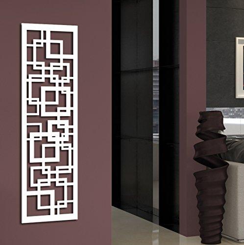 Wandgarderobe / Garderobe Design Quadrat, 140x40x2 cm, weiß (Marke: Szagato, Made in Germany) (Kleiderständer Garderobenständer Wandpaneel Wanddeko Kleiderhaken Flurgarderobe)