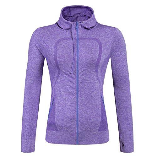 Selighting Damen Sportjacke Laufjacke Sweatjacke Funktionsshirt für Fitness Yoga Laufen (Violett, L) (Yoga Jacke Blau)