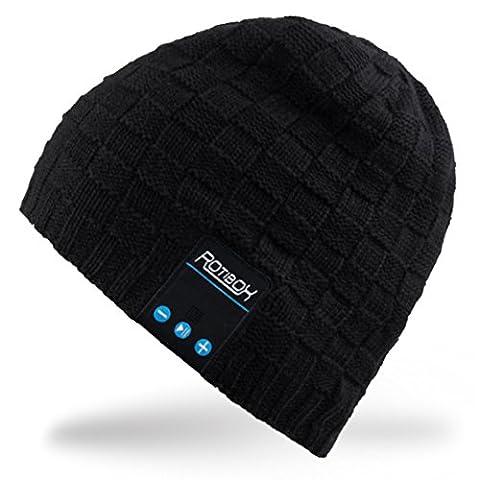 Rotibox Washable Hiver Hommes ¡¯ Femmes ¡¯ Hat Bluetooth Beanie Running Cap w / Sans fil stéréo Casque Mic mains libres rechargeable pour les téléphones mobiles, iPhone, iPad, Android, ordinateurs portables, Tablettes -