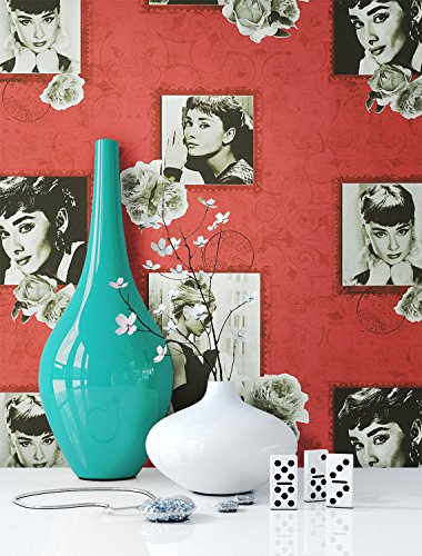 Tapete Rot Audrey Hepburn , schöne edle Tapete im Retro Design , moderne 3D Optik für Wohnzimmer, Schlafzimmer oder Küche inklusive der Newroom Tapezier Ratgeber mit Tipps für perfekte Wände