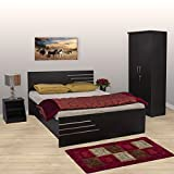 #9: Bharat Lifestyle Engineered Wood Bedroom Set Bed Side Table Wardrobe (Finish Color - Wenge)