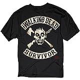 Walking Dead–para hombre Survivor camiseta en negro Negro negro Medium