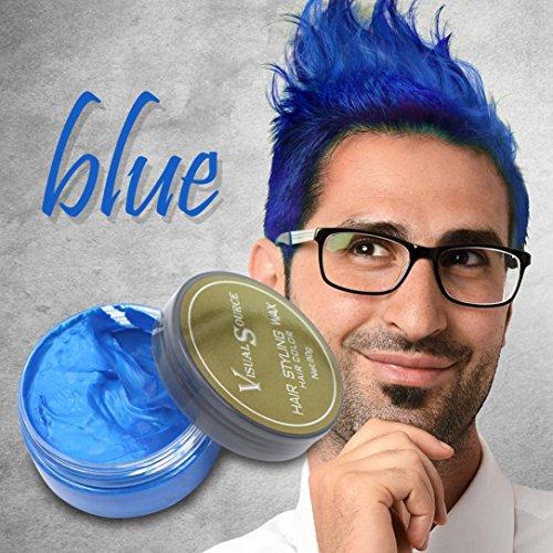 Upxiang Männer Frauen Oma Haar Asche Dye Matte Farbe Haar Wachs Haarfarbe Pomade Temporäre Haare Asche Grau Schlamm (Blau)