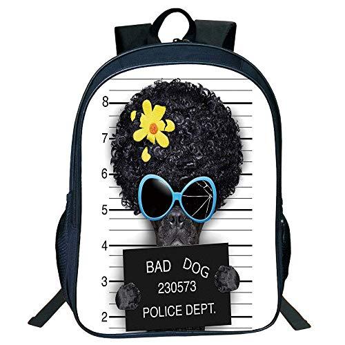 HOJJP Schultasche Stylish Unisex School Students Black Funny,Mug Shot Hippie Wanted Dog Criminal Puppy Afro Boxer Gangster Prison Humor Theme,Black Yellow Kids,