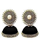 #7: Handmade Black Silk Thread Jhumki Earrings For Women