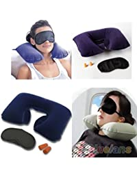 KECKTUS 3 in 1 Super soft travel neck pillow Easy to Carry Multi Utility Travel Kit with Eye Mask and 2 Ear Plugs
