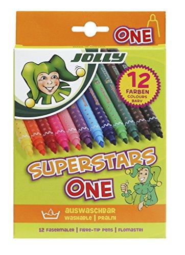 JOLLY Superstars ONE, 12 Fasermaler, rund, auswaschbar, ungiftig